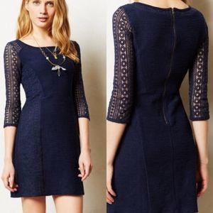 [Anthro] Bordeaux Navy Lace Frost Dress